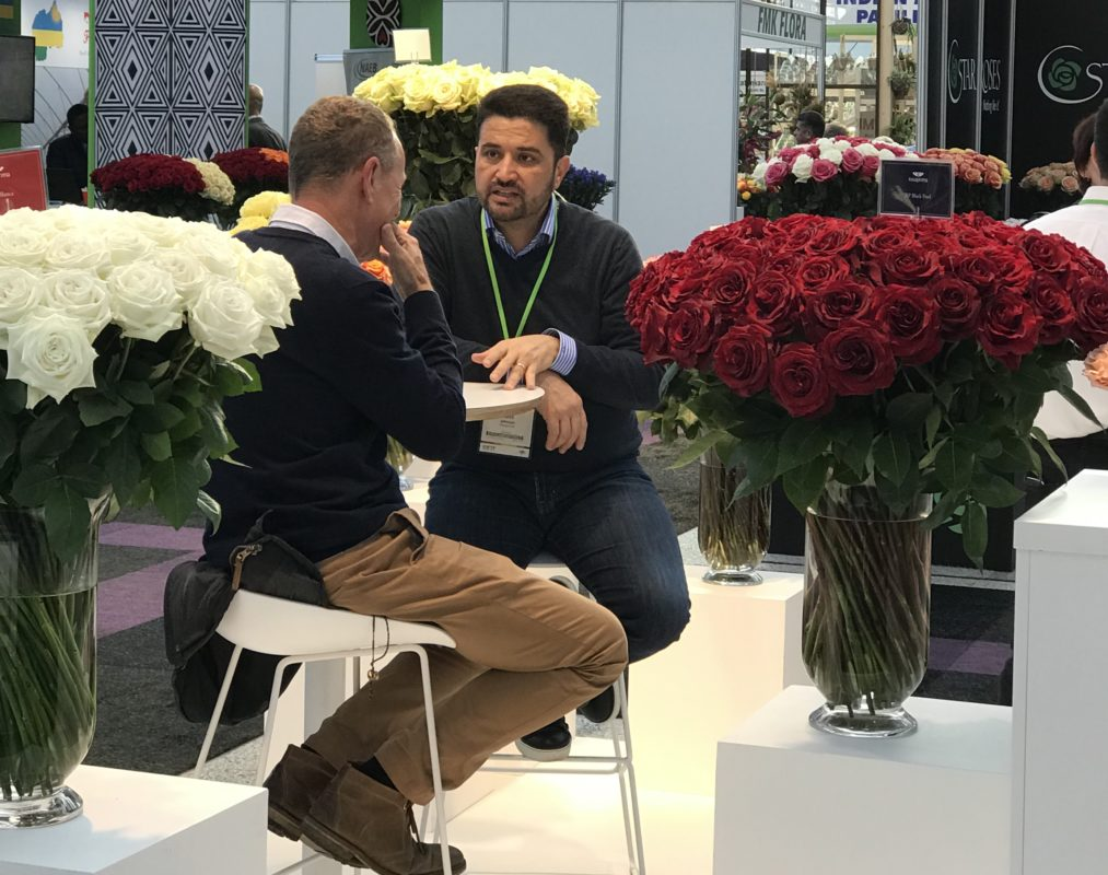 Rosaprima's CEO, Ross Johnson talking with David Austin Jr., at IFTF 2019.